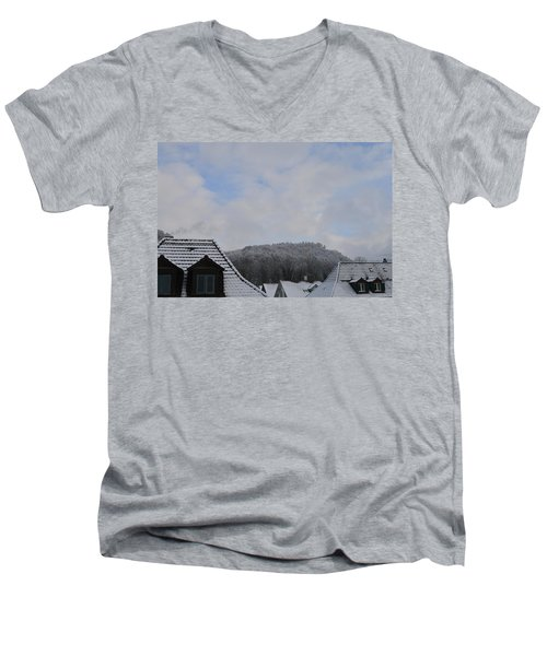 Men's V-Neck T-Shirt featuring the photograph Attic Windows Open To The Sky by Felicia Tica