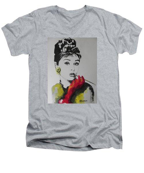 Audrey Hepburn Men's V-Neck T-Shirt by Chrisann Ellis
