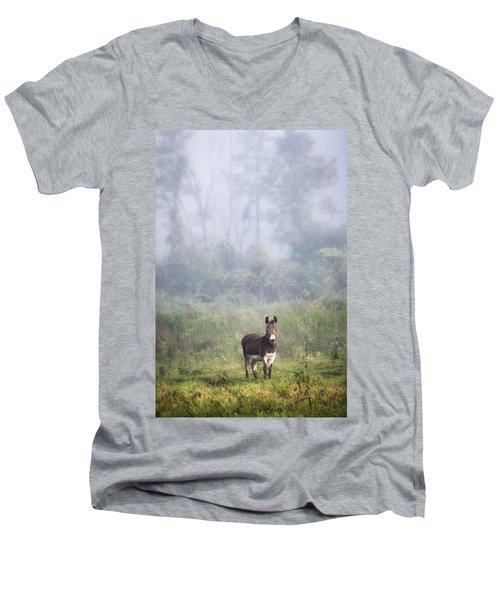 Men's V-Neck T-Shirt featuring the photograph August Morning - Donkey In The Field. by Gary Heller