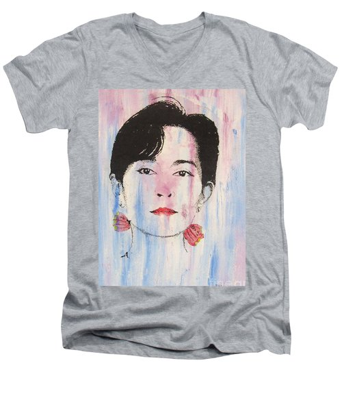 Aung San Suu Kyi Men's V-Neck T-Shirt by Roberto Prusso