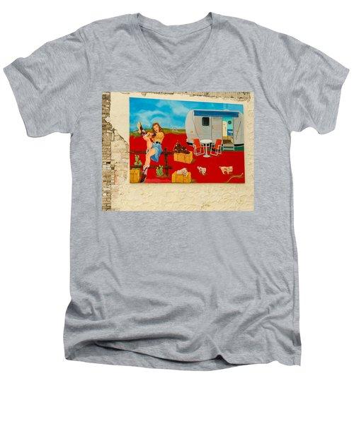 Austin - Camping Mural Men's V-Neck T-Shirt