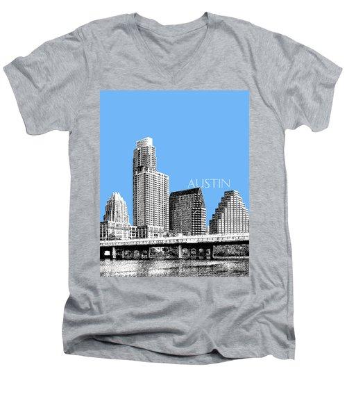 Austin Skyline - Sky Blue Men's V-Neck T-Shirt