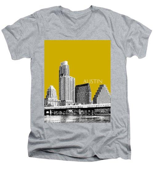 Austin Texas Skyline - Gold Men's V-Neck T-Shirt