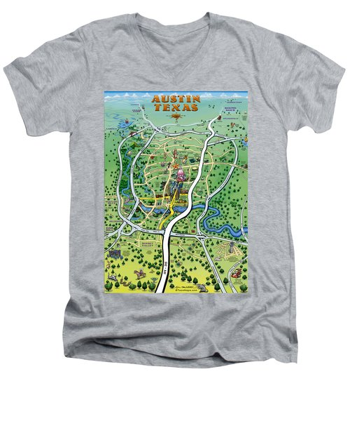 Men's V-Neck T-Shirt featuring the digital art Austin Tx Cartoon Map by Kevin Middleton