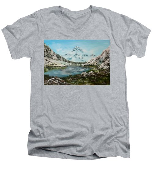 Men's V-Neck T-Shirt featuring the painting Austrian Lake by Jean Walker