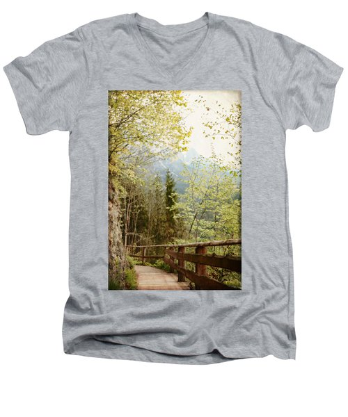 Austrian Woodland Trail And Mountain View Men's V-Neck T-Shirt by Brooke T Ryan