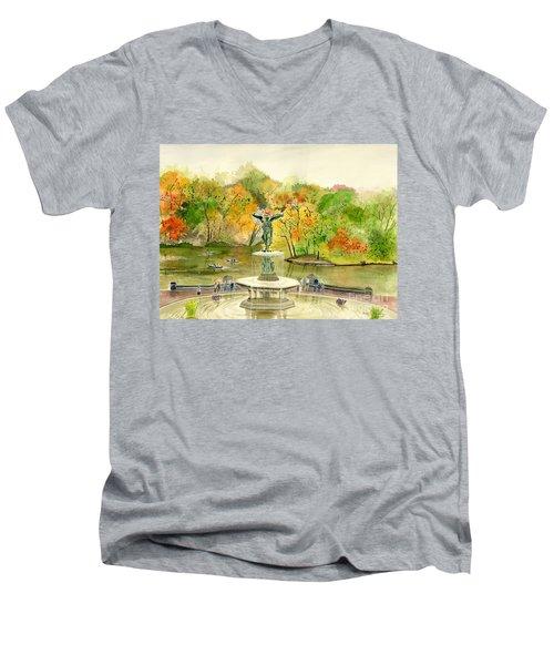 Autumn At Central Park Ny Men's V-Neck T-Shirt by Melly Terpening