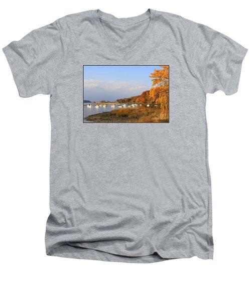 Autumn At Cold Spring Harbor Men's V-Neck T-Shirt by Dora Sofia Caputo Photographic Art and Design