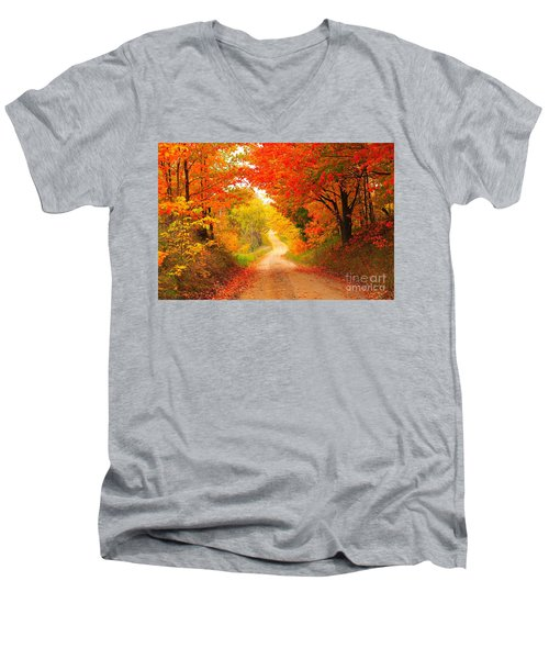 Men's V-Neck T-Shirt featuring the photograph Autumn Cameo 2 by Terri Gostola