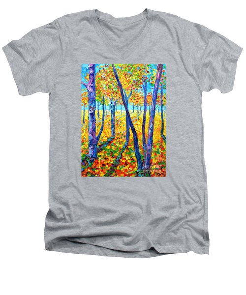 Autumn Colors Men's V-Neck T-Shirt by Ana Maria Edulescu