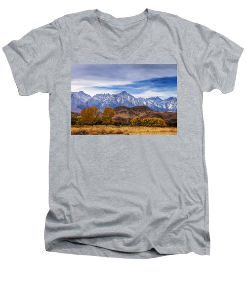 Autumn Colors And Mount Whitney Men's V-Neck T-Shirt by Andrew Soundarajan