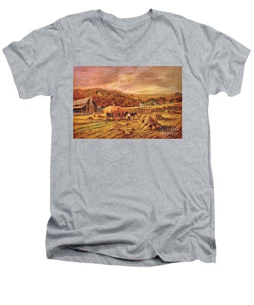 Autumn Folk Art - Haying Time Men's V-Neck T-Shirt