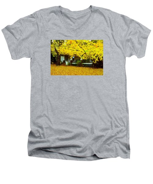 Men's V-Neck T-Shirt featuring the photograph Autumn Homestead by Rodney Lee Williams