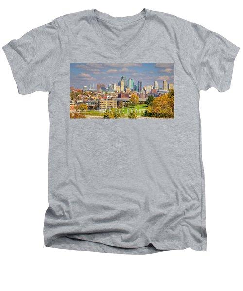 Autumn In Kansas City With Logo Men's V-Neck T-Shirt
