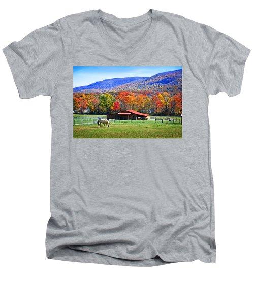 Autumn In Rural Virginia  Men's V-Neck T-Shirt by Lynn Bauer