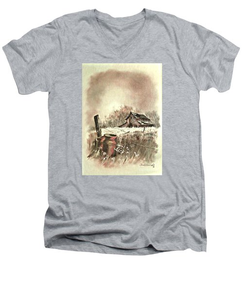 Men's V-Neck T-Shirt featuring the painting Autumn In View At Mac Gregors Barn by Carol Wisniewski
