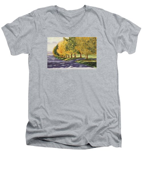 Autumn Lane Men's V-Neck T-Shirt by Alan Mager