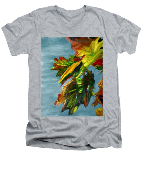 Men's V-Neck T-Shirt featuring the painting Autumn Leaves by Michael Daniels