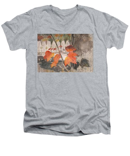 Autumn Leaves On Belmont St Men's V-Neck T-Shirt