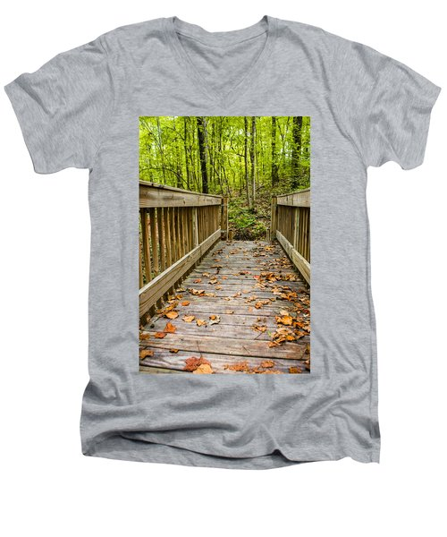 Autumn On The Bridge Men's V-Neck T-Shirt