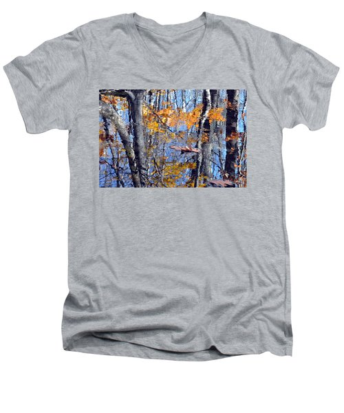 Autumn Reflection With Leaf Men's V-Neck T-Shirt