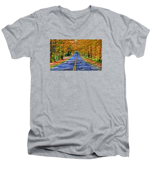 Autumn Road Oneida County Ny Men's V-Neck T-Shirt