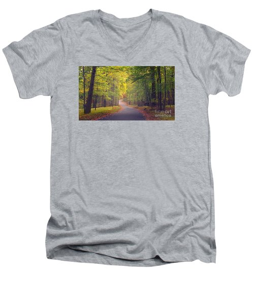 Men's V-Neck T-Shirt featuring the photograph Autumn Road by Rima Biswas