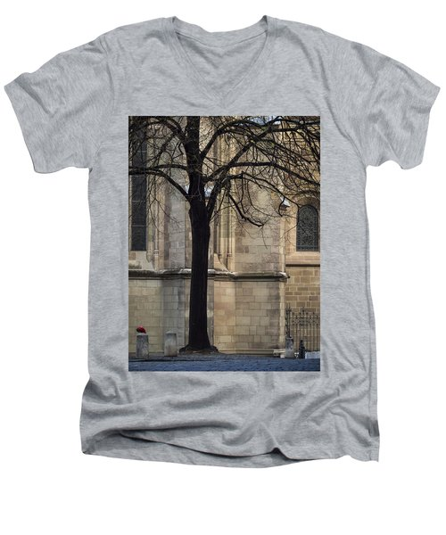Men's V-Neck T-Shirt featuring the photograph Autumn Silhouette by Muhie Kanawati