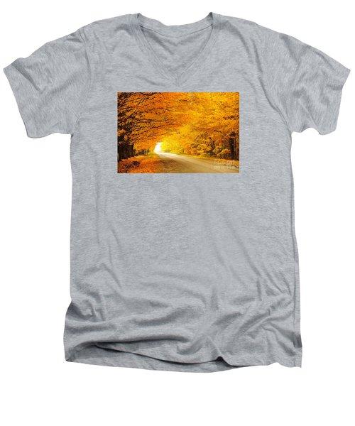 Autumn Tunnel Of Gold 8 Men's V-Neck T-Shirt by Terri Gostola