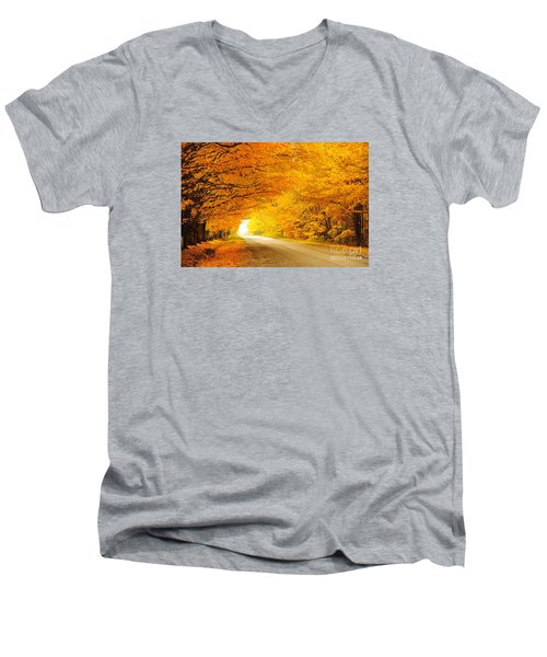 Autumn Tunnel Of Gold 8 Men's V-Neck T-Shirt