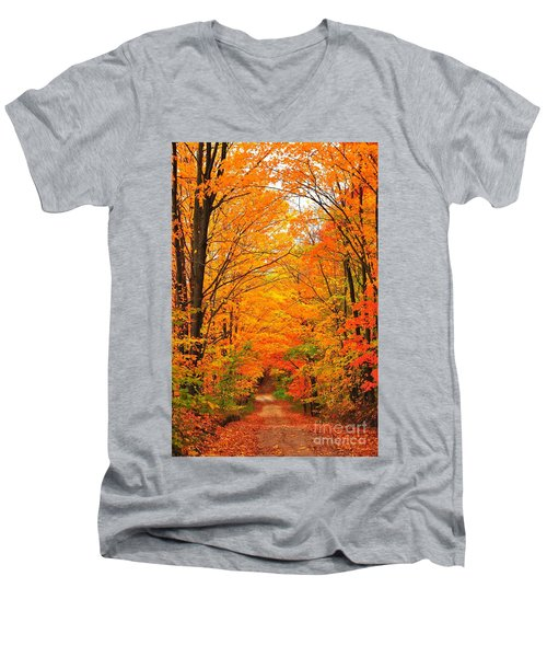 Men's V-Neck T-Shirt featuring the photograph Autumn Tunnel Of Trees by Terri Gostola