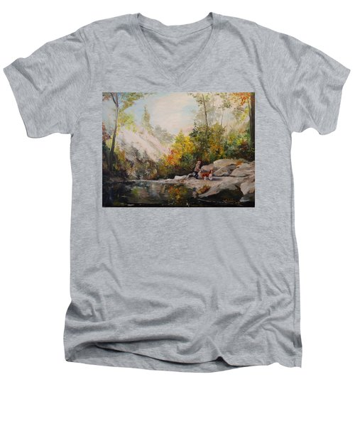 Men's V-Neck T-Shirt featuring the painting Autumn Walk by Alan Lakin