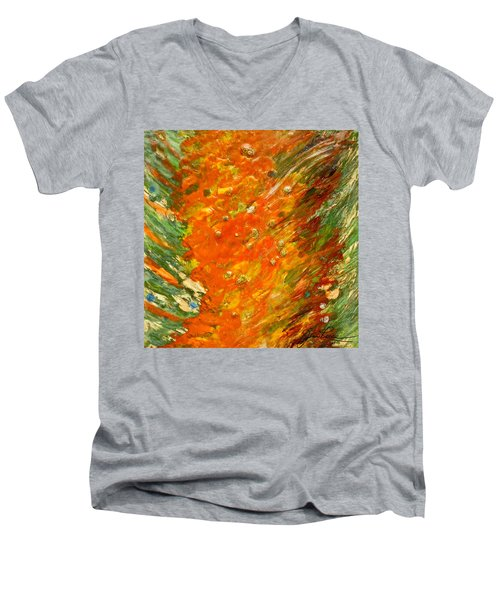 Men's V-Neck T-Shirt featuring the painting Autumn Wind by Joan Reese
