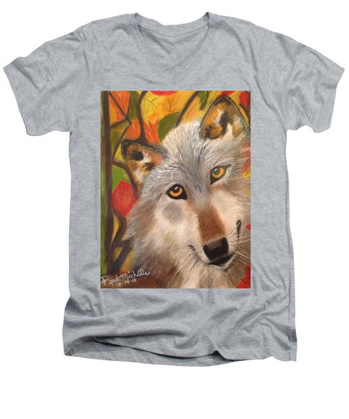 Autumn Wolf Men's V-Neck T-Shirt