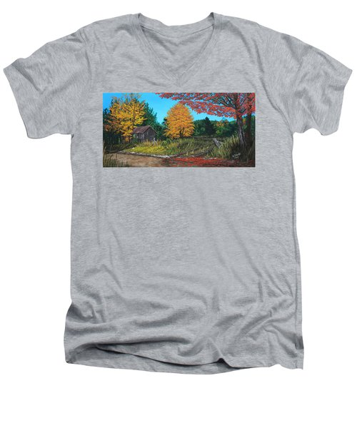 Men's V-Neck T-Shirt featuring the painting Autumns Rustic Path by Wendy Shoults