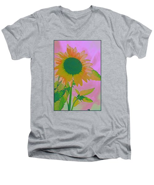 Autumn's Sunflower Pop Art Men's V-Neck T-Shirt by Dora Sofia Caputo Photographic Art and Design