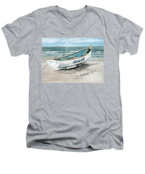 Avalon Lifeguard Boat  Men's V-Neck T-Shirt