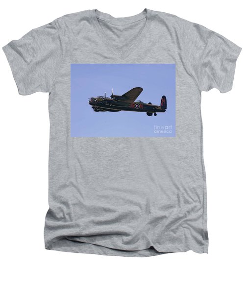 Avro 638 Lancaster At The Royal International Air Tattoo Men's V-Neck T-Shirt by Paul Fearn