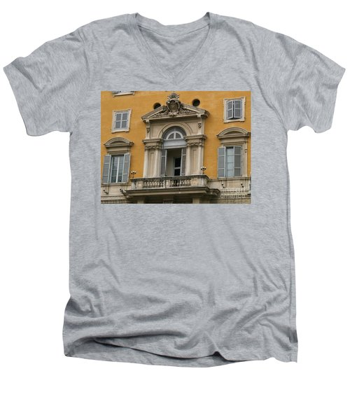 Men's V-Neck T-Shirt featuring the photograph Awaiting The Pope by Robin Maria Pedrero