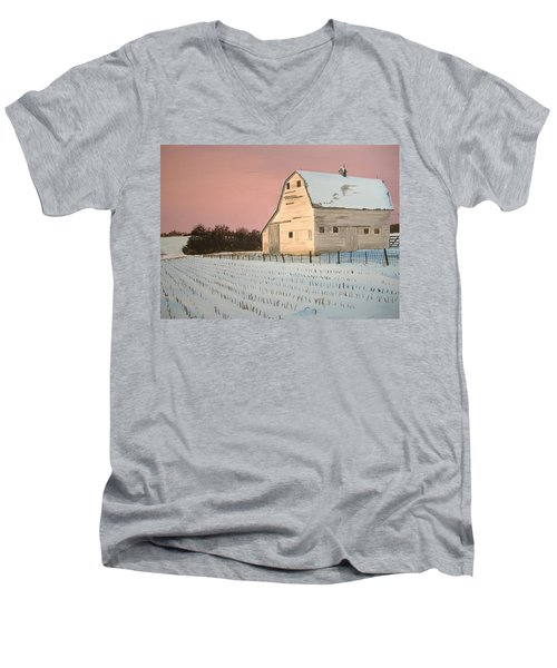 Award-winning Original Acrylic Painting - Nebraska Barn Men's V-Neck T-Shirt