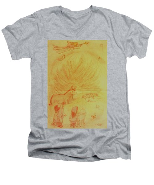 Away In A Manger Men's V-Neck T-Shirt by Christy Saunders Church