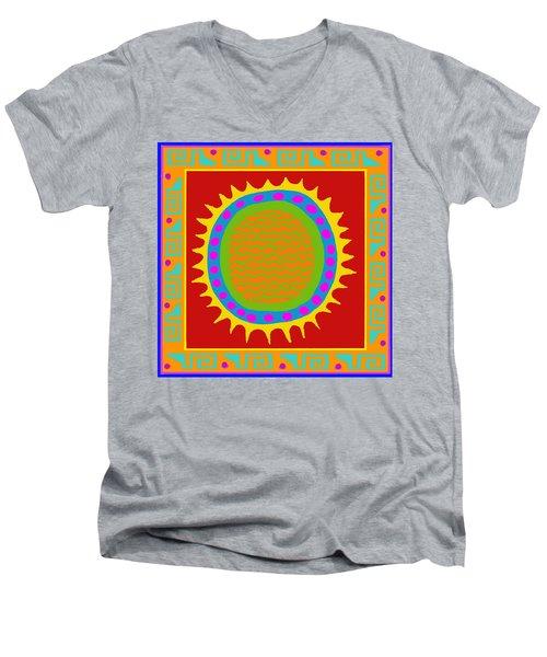 Men's V-Neck T-Shirt featuring the digital art Aztec Del Sol by Vagabond Folk Art - Virginia Vivier