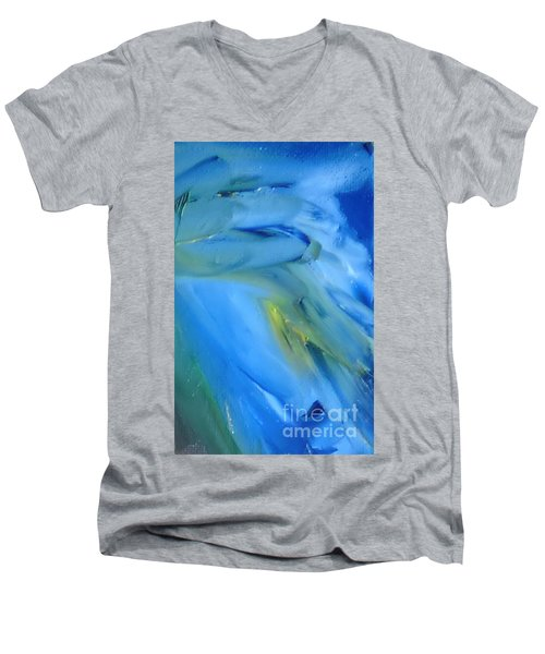 Men's V-Neck T-Shirt featuring the painting Azul by Reina Resto