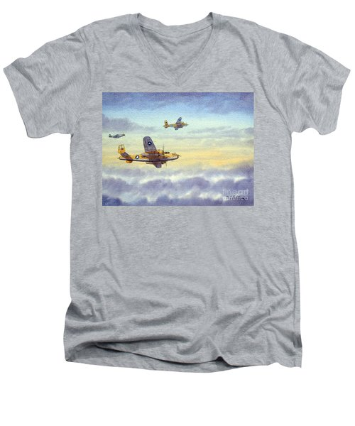 Men's V-Neck T-Shirt featuring the painting B-25 Mitchell by Bill Holkham