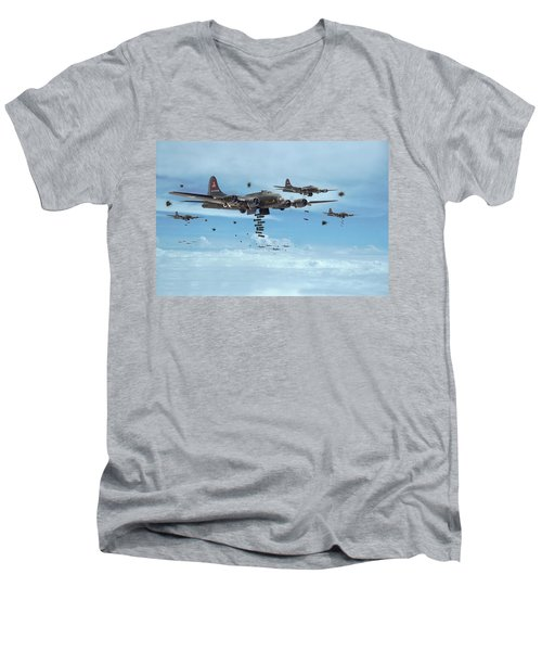 B17 - Mighty 8th Arrives Men's V-Neck T-Shirt