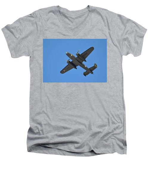 B25 Mitchell Wwii Bomber On 70th Anniversary Of Doolittle Raid Over Florida 21 April 2013 Men's V-Neck T-Shirt
