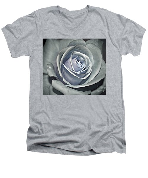 Men's V-Neck T-Shirt featuring the photograph Baby Blue Rose by Savannah Gibbs