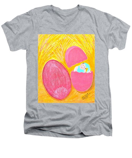 Men's V-Neck T-Shirt featuring the painting Baby Egg by Lorna Maza