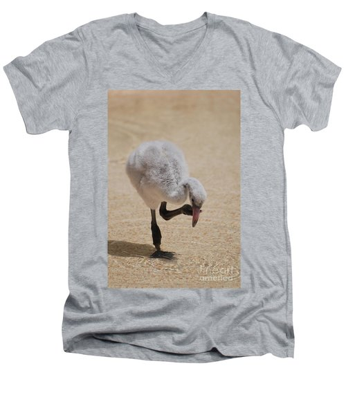 Baby Flamingo Men's V-Neck T-Shirt by DejaVu Designs