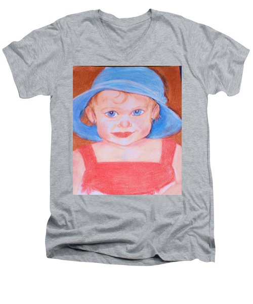 Men's V-Neck T-Shirt featuring the pastel Baby In Blue Hat by Christy Saunders Church